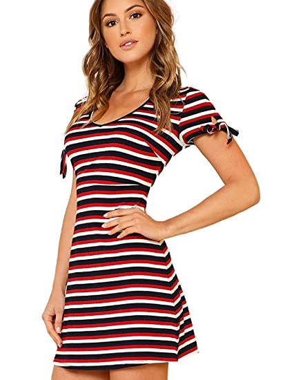 9cdad7905f4 Milumia Women s Elbow Patch Striped Scoop Neck Tee Dress Black at ...