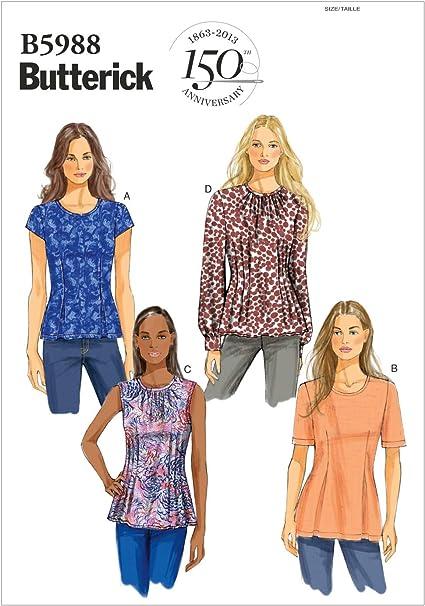 Butterick Patterns 5988 F5 - Patrones de Costura de Camisetas para Mujer (Tallas 44-52), Multicolor