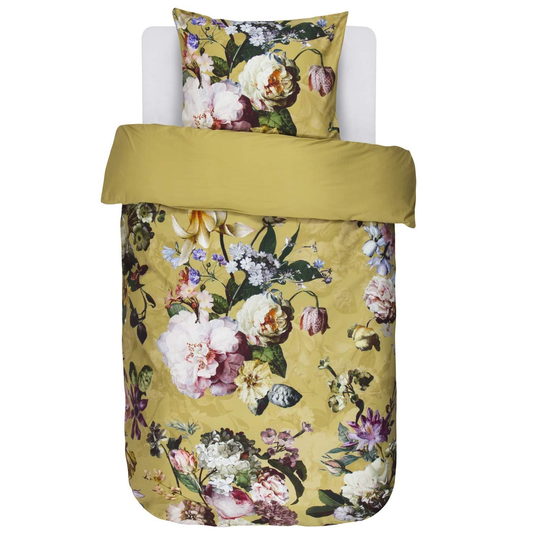 Essenza Bettwäsche Fleur Gold Gelb Blumen Blüten Baumwollsatin 155x220 cm + 80x80 cm