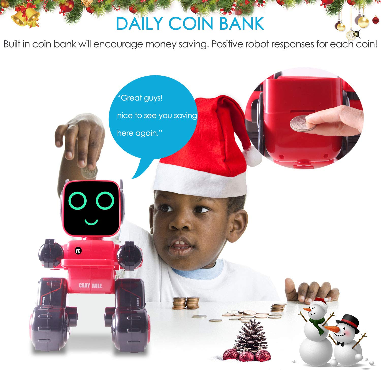 IHBUDS Programmable Remote Control Toy Robot for Kids,Touch & Sound Control, Speaks, Dance Moves, Plays Music. Built-in Coin Bank.Rechargeable RC Robot Kit for Boys, Girls All Ages-Red/Black by IHBUDS (Image #6)