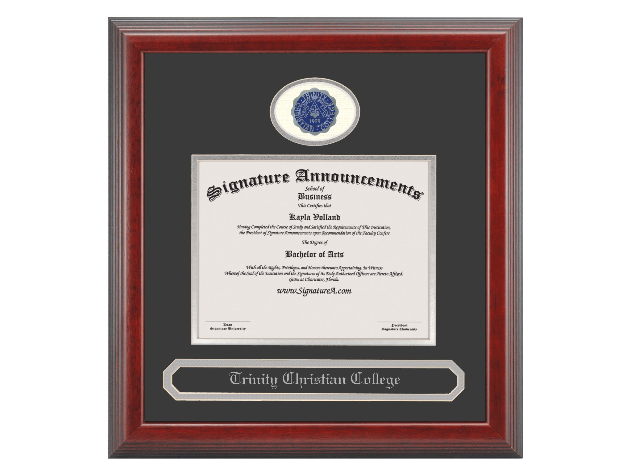 Signature Announcements Trinity Christian College Undergraduate Sculpted Foil Seal & Name Graduation Diploma Frame, 16'' x 16'', Cherry