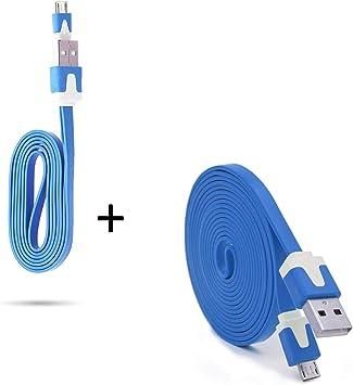 Pack Cargador para Huawei P9 Lite Smartphone Micro USB Cable Noodle 3M + Cable Noodle 1M Android (Azul): Amazon.es: Electrónica