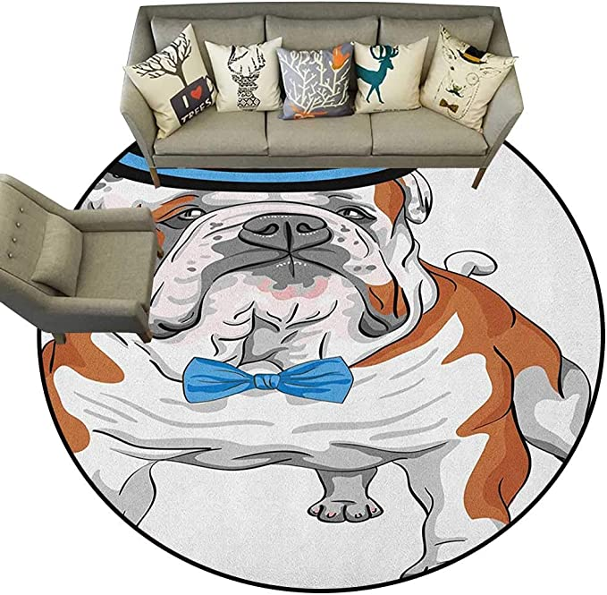 Alfombra de Estilo Hipster Vintage con diseño de Bulldog inglés y Pajarita con diseño de Animal D66 para Sala de Estar: Amazon.es: Hogar