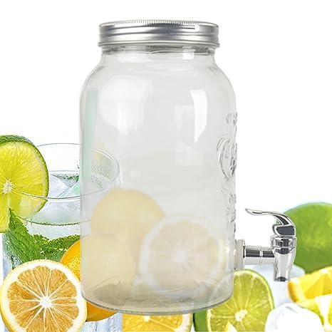 Dispensador de zumo 3L Cristal con grifo (Tapa 350374 – Jarra dispensador de bebidas dispensador