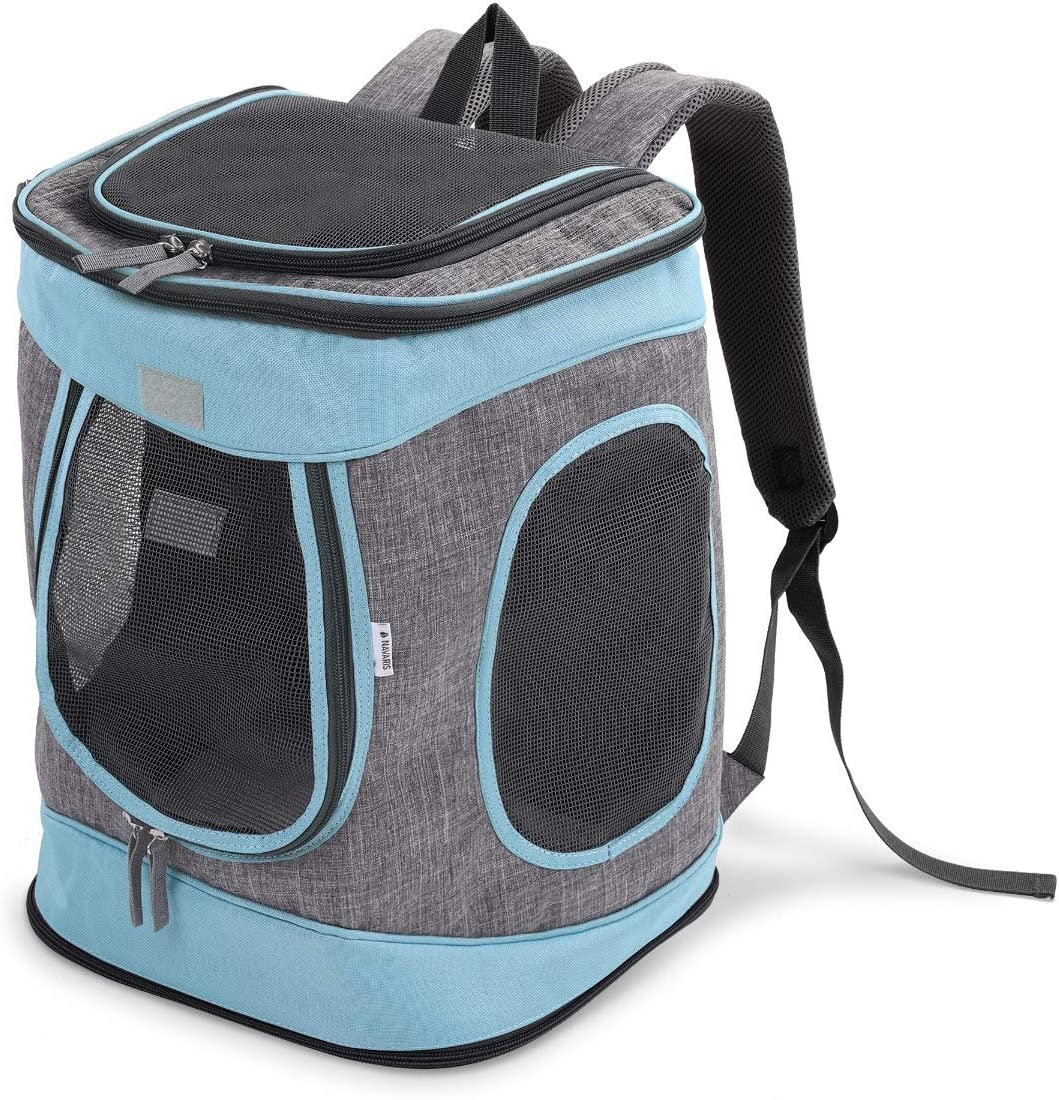 Navaris Mochila para Transportar Mascotas -Transportín Plegable Porta Mascota - Bolso Acolchado Transpirable para Gatos Cachorros de máx. 15 KG: Amazon.es: Productos para mascotas