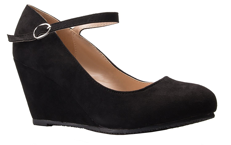 OLIVIA K Women's Gorgeous Platform Comfort Shoes – Closed Toe Wedge Pump - Comfortable Platform High Heel Wedges