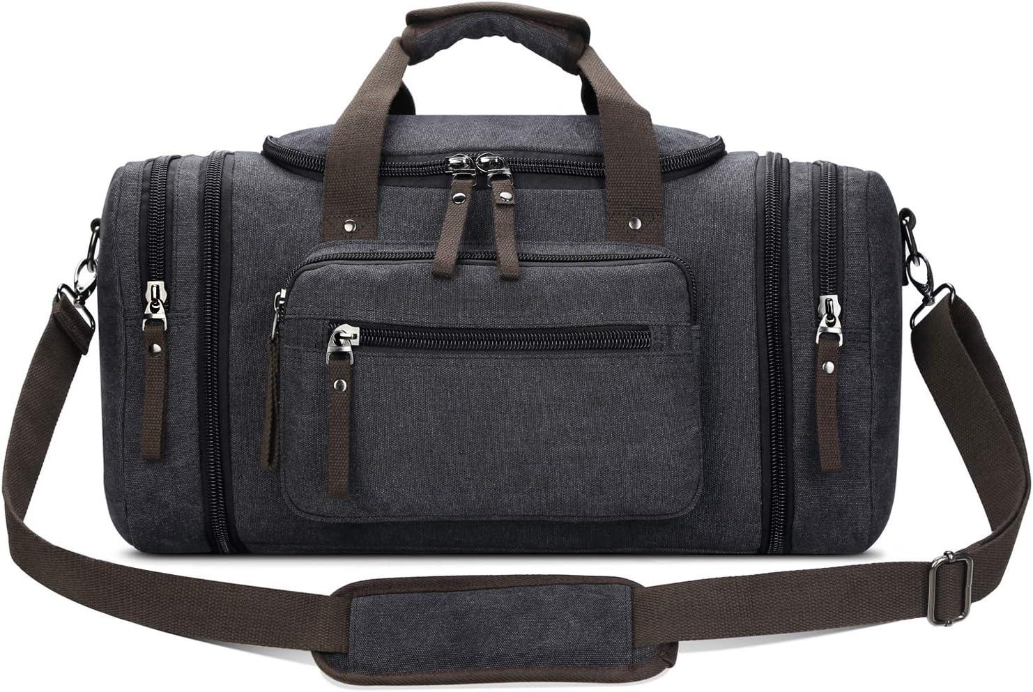 Toupons Travel Duffel Bag for Men Canvas Overnight Weekend Bag (Black )
