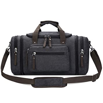 38a804fa1781 Amazon.com | Toupons Canvas Travel Tote Luggage Men's Weekender Duffle Bag,  Black | Gym Totes