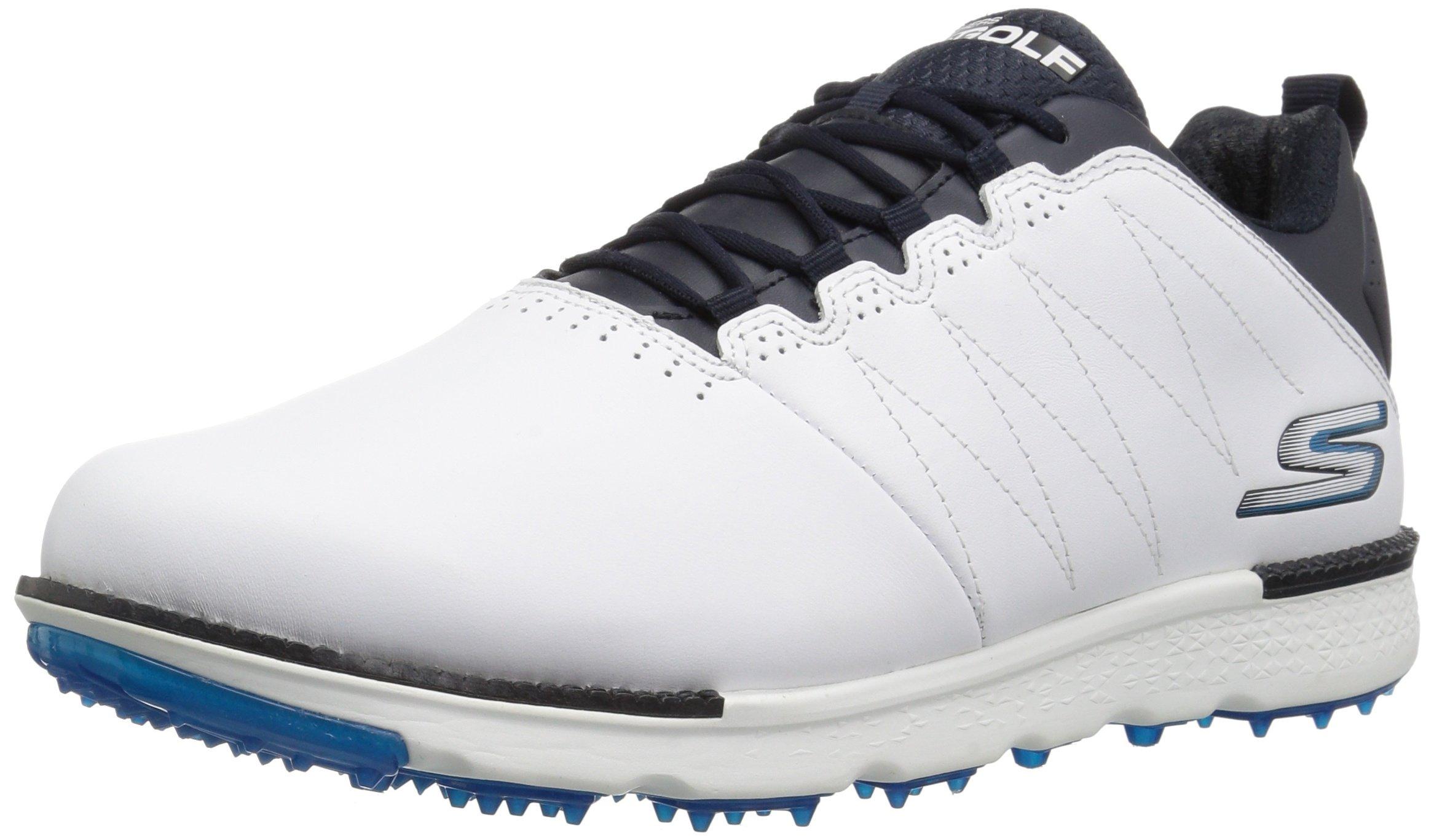 Skechers Men's Go Gole Elite 3 Wide Golf Shoe,White/Navy,9.5 W US