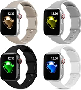4 Pack Sport Silicone Bands Compatible with Apple Watch Bands 38mm 40mm Women Men, Soft Replacement Strap Band Compatible for iwatch Series 6 SE 5 4 3 2 1(38MM/40MM,Black+White+Gray+Stone)