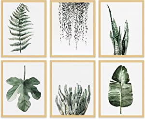 Leaf Canvas Plant Wall Decor - Minimalist Botanical Wall Art Prints Tropical Pictures Green Decoration for Bathroom Kitchen Bedroom Nursery Modern Watercolor Painting Rustic Boho Poster 8x10