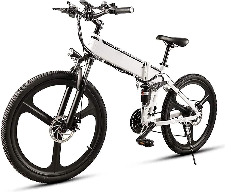 Bicicleta Eléctrica Plegable Bicicleta eléctrica de nieve, 26 en bicicleta eléctrica para adultos 350W Montaña plegable E-bicicleta con 48v10Ah Batería de iones de litio extraíble, aleación de alumini