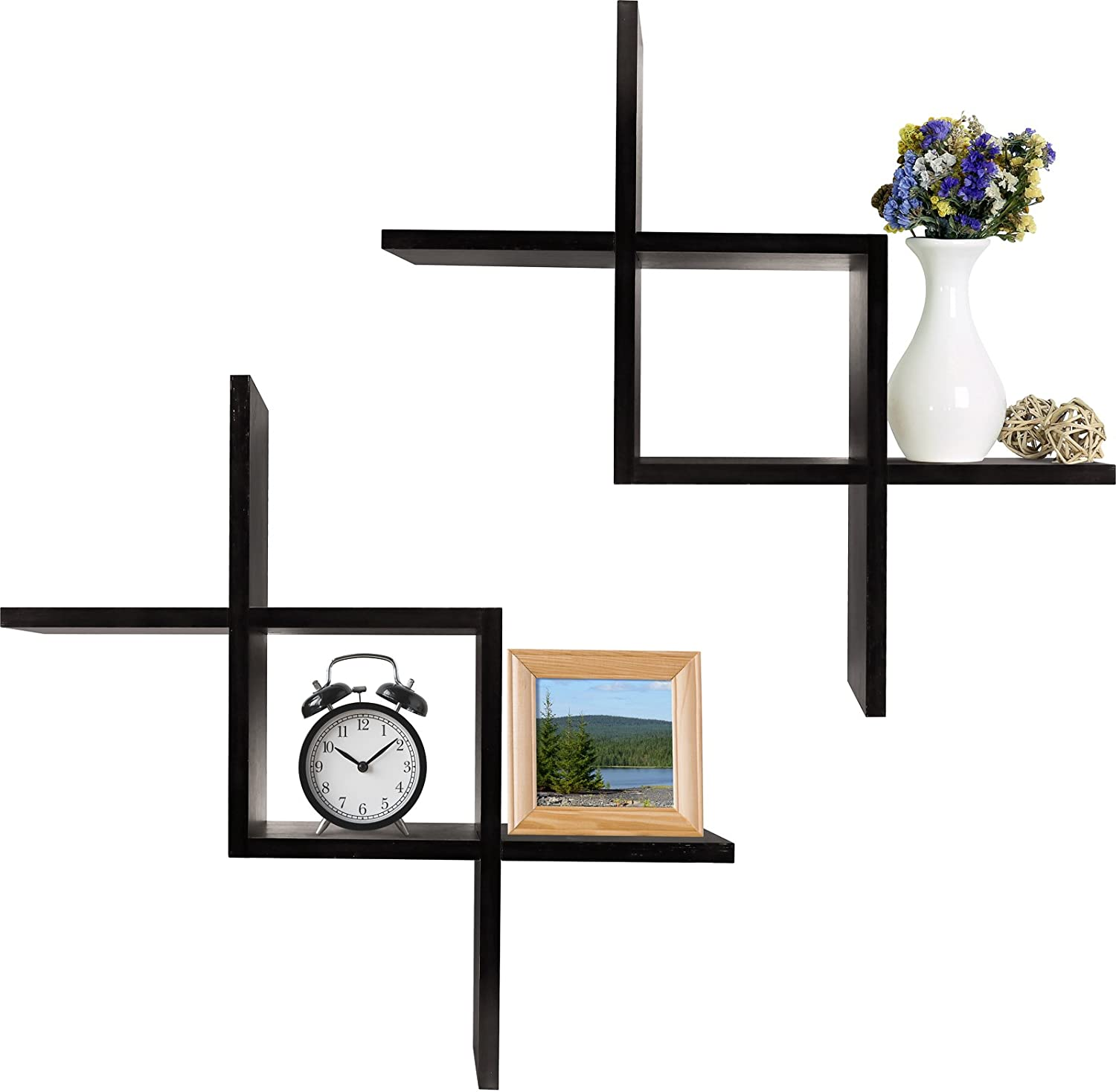 Greenco Criss Cross Intersecting Wall Mounted Floating Shelves- Espresso Finish