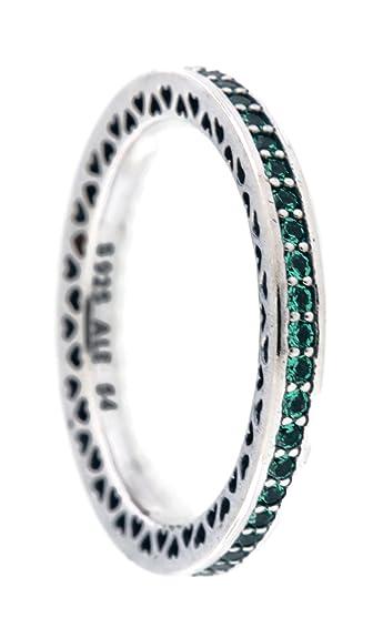 43fde0d97 Amazon.com: PANDORA Radiant Hearts of PANDORA Ring, Bright Mint Enamel &  Royal Green Crystals 191011NRG -52 EU 6 US: Jewelry