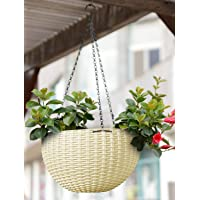 Oshi Greens Hanging Flower Pot Basket with Hook Chain for Home Gardener Grower Planter Office Balcony - 1 Pack