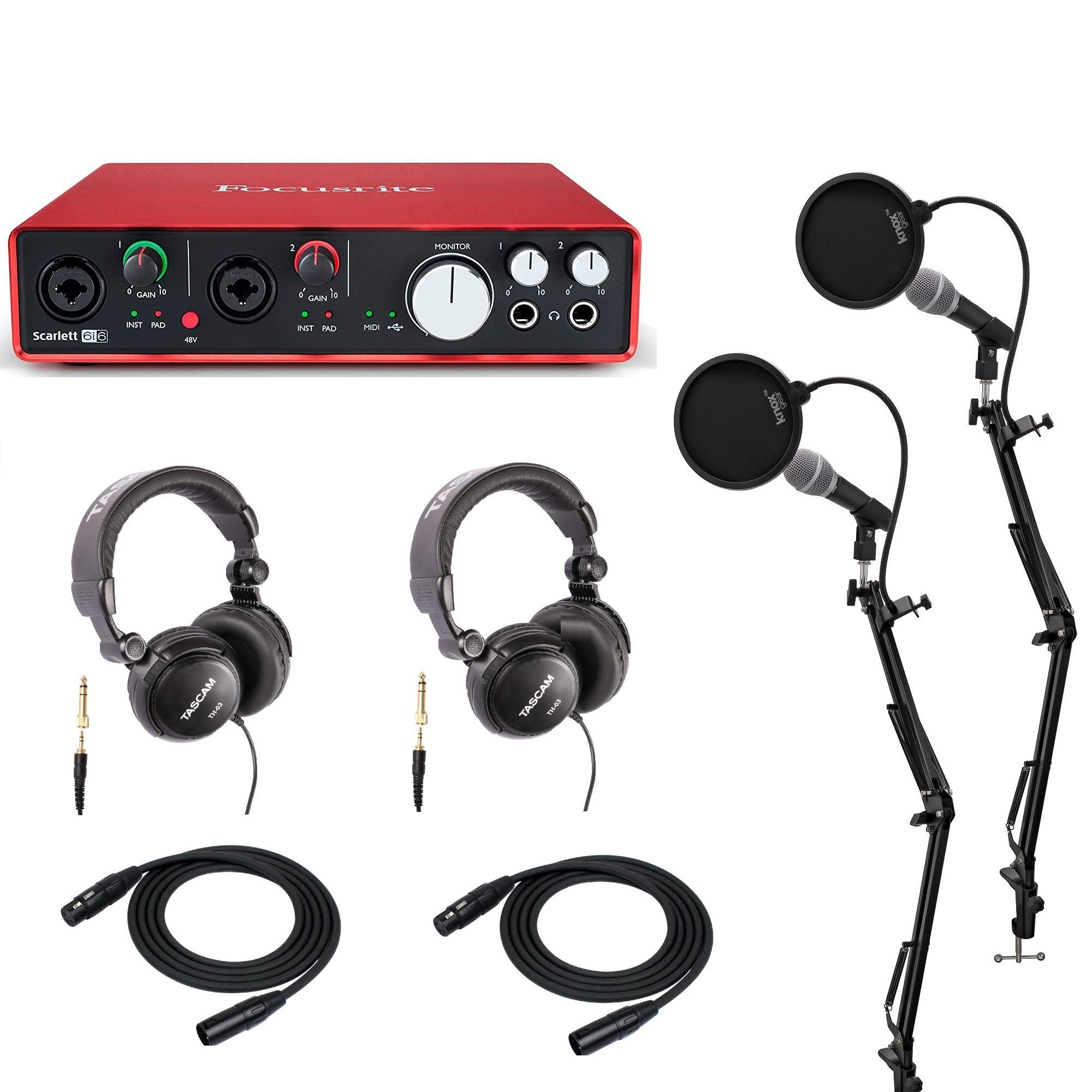 Focusrite Scarlett 6i6 USB Audio Interface Podcast Bundle with 2 Mics, 2 Knox Studio Stands, 2 Knox Pop Filters and 2 Headphones