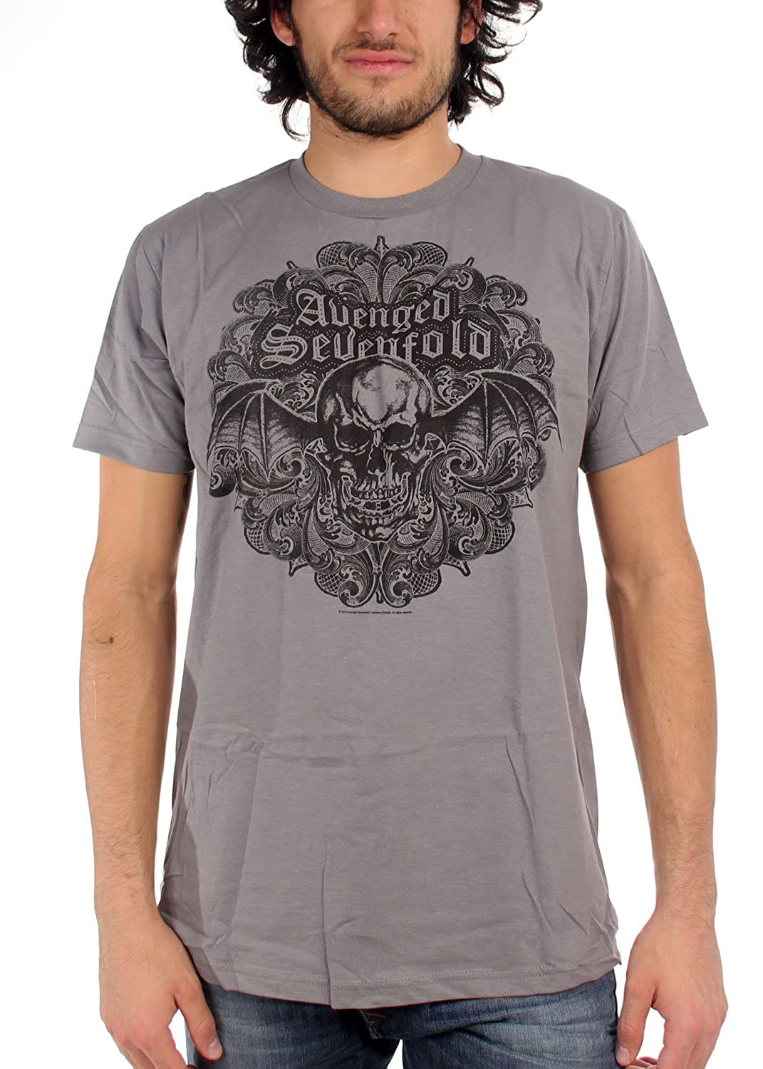 Avenged Sevenfold - Scrolled 30/1 Mens T-Shirt In Heather Gray