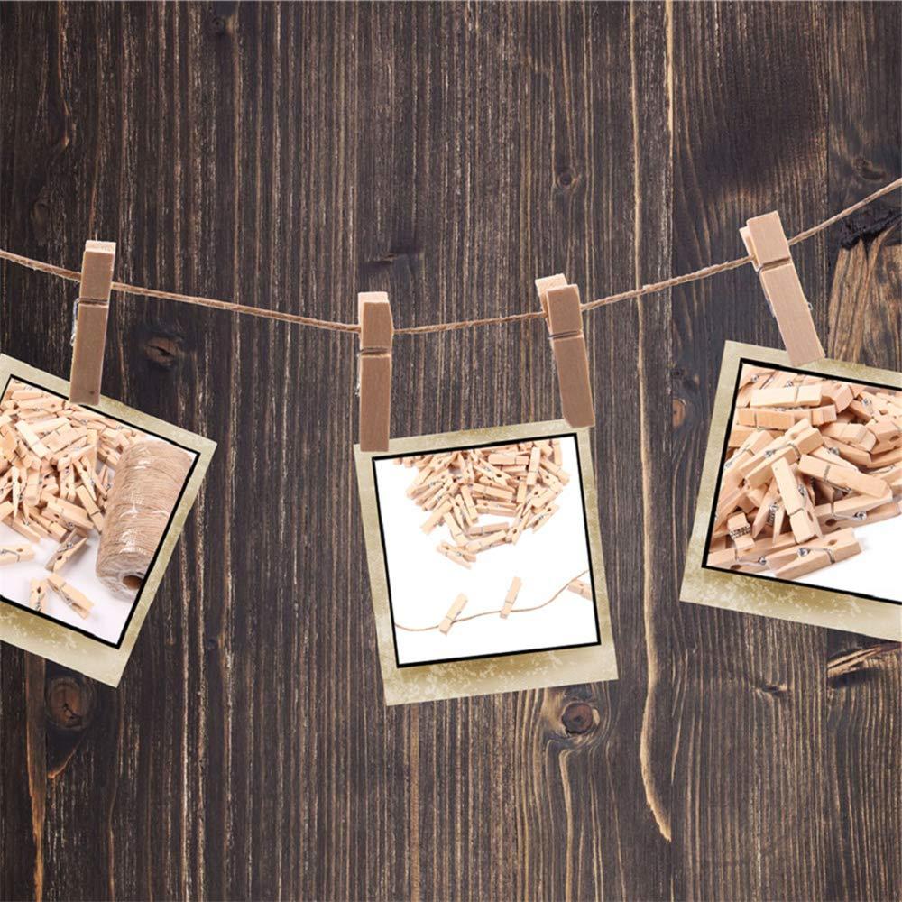 PoeHXtyy Nat/ürliche Juteschnur mit 100 Stk Mini-Fotoklammern aus Naturholz zum Basteln von Bildern