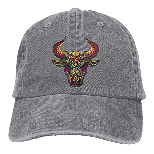 Hat Patterned Bull Head Denim Skull Cap Cowboy Cowgirl Sport Hats ... 94b06e36046