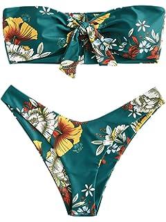 ce558b6ca8 Amazon.com  ZAFUL Womens Swimwear Two Pieces Solid Color High Cut ...