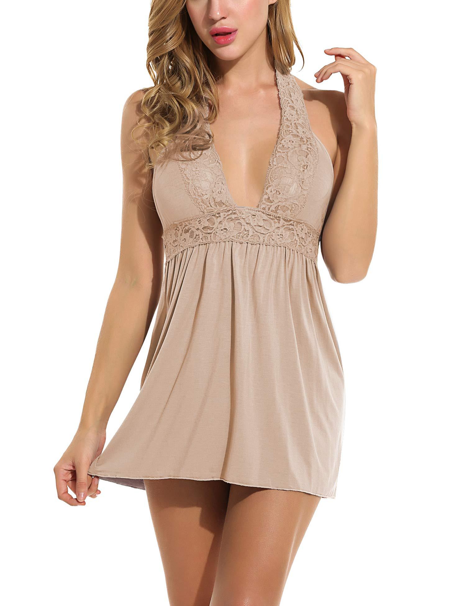 7750a6808 Galleon - Avidlove Women s Lingerie Modal Sleep Dress Sexy Chemise Nighty  Mini Full Slip Lace Babydoll