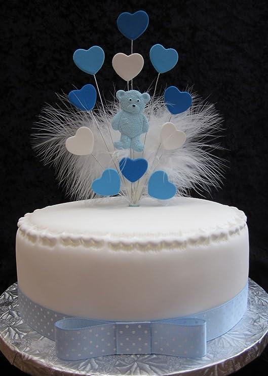 Decoración para tarta de peluche azul con corazones y plumas de ...
