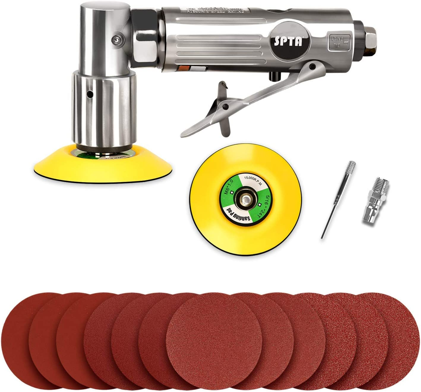 SPTA 3 80mm Mini Air Angle Sander Grinder Air Random Palm Sander Air Orbital Sander with M6 Backing Plate Car Polisher Sets with 12Pcs Mix Grit 80mm Sanding Disc Sanding Pads