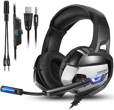 PS4 Gaming Auriculares para Juegos de PC con Micrófono, Onikuma K5 ...