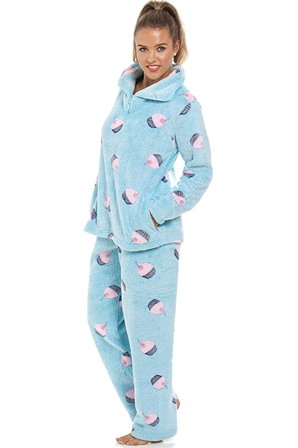 Camille Supersoft Fleece Aqua Blue Cupcake Pajama Set 14/16 Blue at Amazon Womens Clothing store: