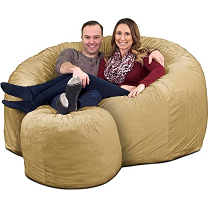 Swell Ultimate Sack 6000 Bean Bag Chair W Footstool Giant Foam Filled Furniture Machine Washable Covers Double Stitched Seams Durable Inner Liner And Forskolin Free Trial Chair Design Images Forskolin Free Trialorg