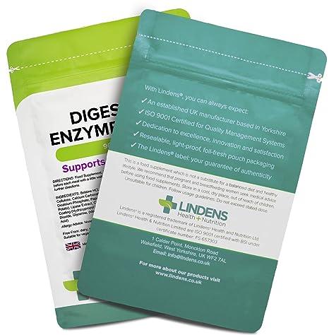 Lindens Enzimas digestivas en comprimidos diarios | 90 Paquete | Contiene betaína HCL, papaína, amilasa y lipasa para estimular una digestión mejor