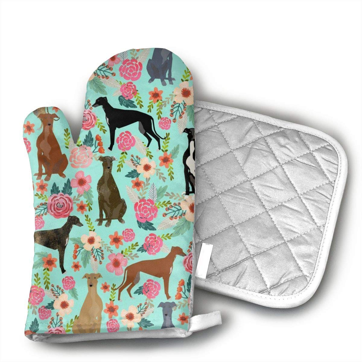 Wiqo9 Greyhound Floral Cute Dog Mint Vintage Oven Mitts and Pot Holders Kitchen Mitten Cooking Gloves,Cooking, Baking, BBQ.
