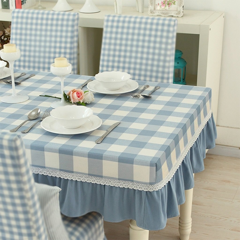 Gtt Modern pastoral fresh thick cotton linen plaid dustproof dining tablecloth Round tablecloth (Size   120x60cm+23cmgreenical edge)