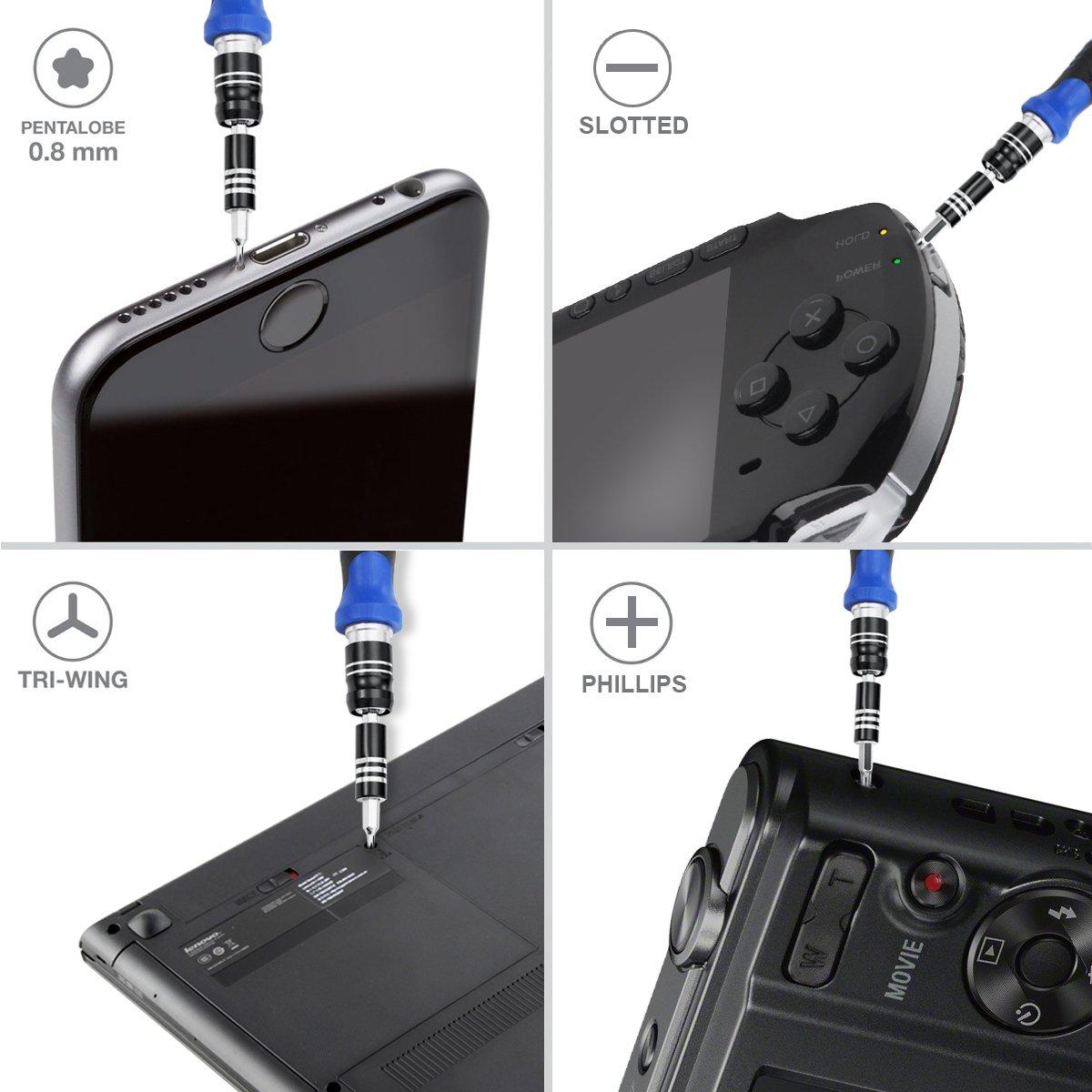 etc. Pour t/él/éphone portable horloge Oria 60/en 1/- Set de 56 embouts magn/étique pour tournevis MacBook PC tablette