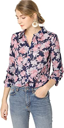 Allegra K Women's Floral Printed Button Up Shirt Long Sleeves Vintage Tops