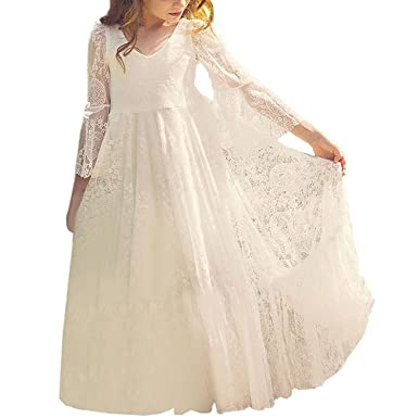 7b8666067b Amazon.com  Fancy A-line Lace Flower Girl Dress 2-12 Year Old  Clothing