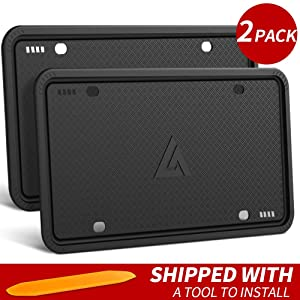 Aujen Silicone License Plate Frame, 2 PCS License Plate Holder, Universal American Auto Black License Plate Frame Rust-Proof, Rattle-Proof, Weather-Proof