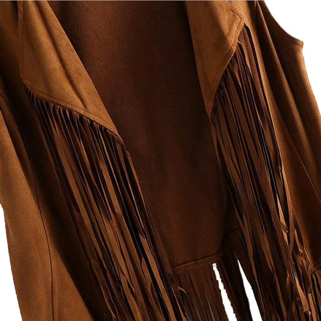 DEELIN Femmes Automne Hiver Mode Faux Daim Ethnique Style sans Manches Glands Veste À Franges Gilet Manteaux Tops Cardigan Outwear