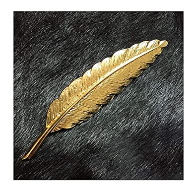 YRY 1PCS Brooch Feather Leaf Golden Flower Lapel Stick Brooch Pin for Suit
