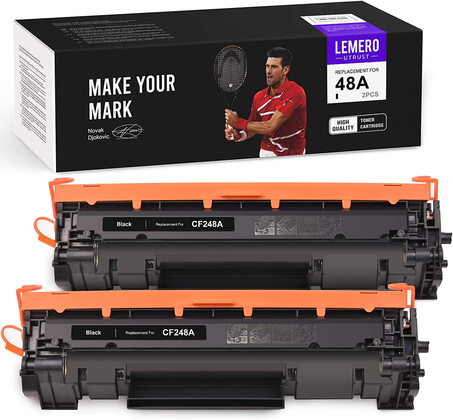 LemeroUtrust Compatible Toner Cartridge Replacement for HP 48A CF248A use with HP Laserjet Pro MFP M29 M29w M29a M28 M28w M28a Laserjet Pro M15w M15A M15 M16w M16a M16 (Black, 2-Pack)