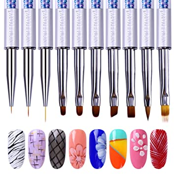 Amazon.com: NICOLE DIARY UV Gel Nail Art Brushes Detailing Liner ...