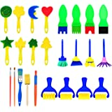 25 Pieces Sponge Painting Brushes Set Kids Early Learning Drawing Tools for DIY Arts Crafts, Assorted Colors and Shapes