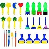 25 Stücke Schwamm Malerei Pinsel Set Kinder Früherziehung Zeichnung Werkzeuge für DIY Kunsthandwerk, Verschiedene Farben und Formen