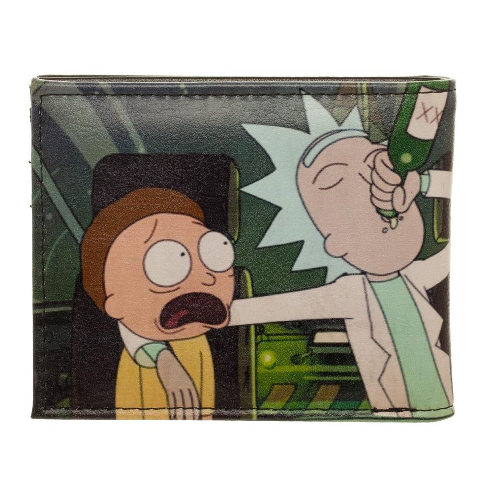 bioWorld Adult Swim Rick and Morty PU Faux Leather Bifold Wallet,Black,One Size