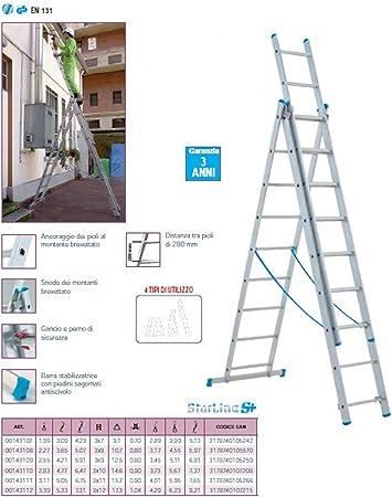 Escalera Aluminio Telescópica Tubesca Starline Rampa 3 x 7 peldaños MT 5,13: Amazon.es: Bricolaje y herramientas