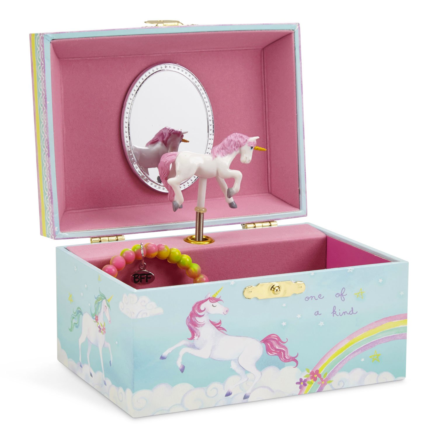 JewelKeeper Girl's Musical Jewelry Storage Box with Spinning Unicorn, Rainbow Design, Somewhere Over the Rainbow Tune