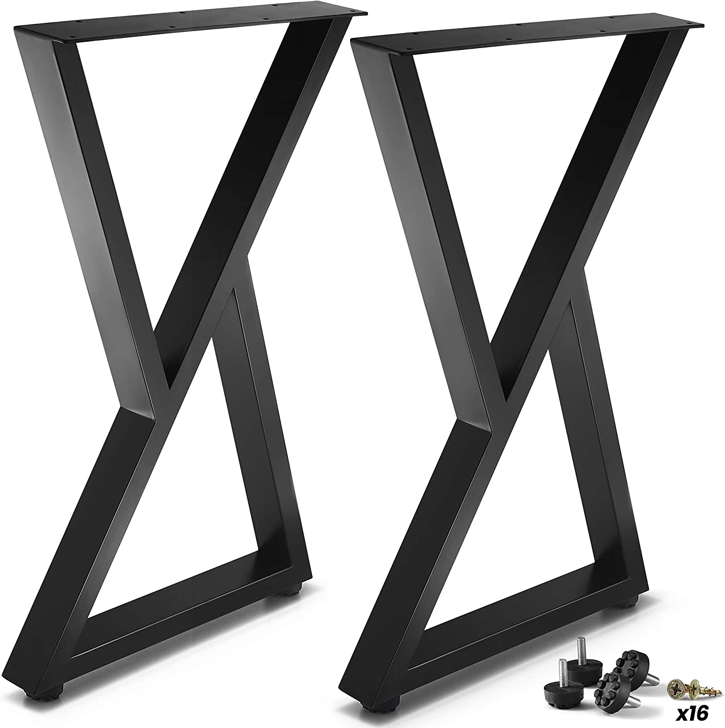 """CRIZTA Metal Table Legs 28 inch Height 17.7"""" Wide Z Shape, Set of 2, Rustic Heavy Duty Leg for Dining Furniture, Wood Coffee Bench Tables and Desk - Black Powder Coated (Black)"""
