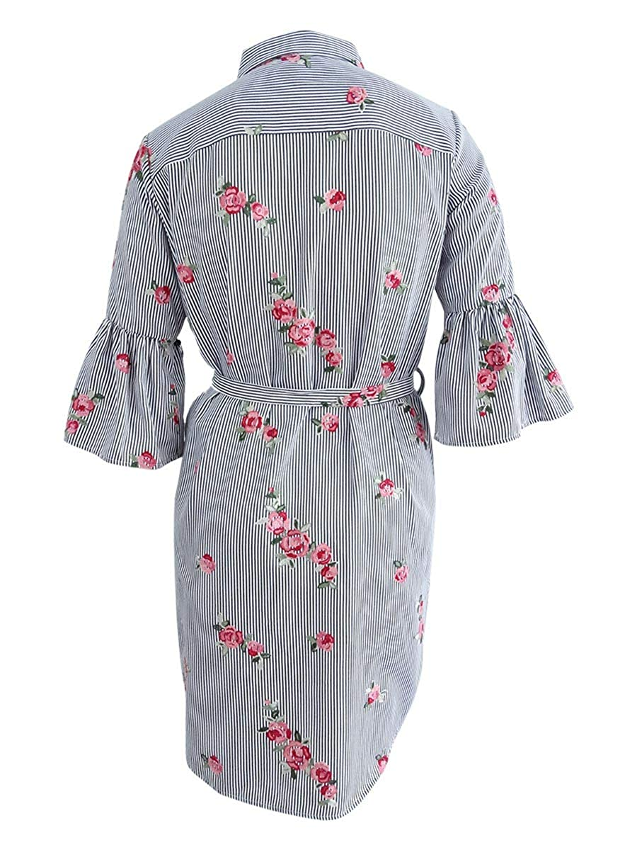 e2fef900 Calvin Klein Women's Floral Embroidered Bell Sleeve CD8G18GX at Amazon Women's  Clothing store: