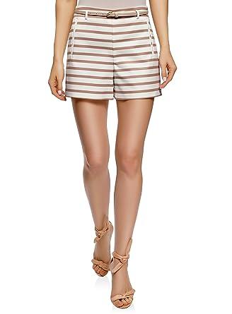 oodji Ultra Damen Baumwoll-Shorts mit Gürtel  Amazon.de  Bekleidung 9115c24468