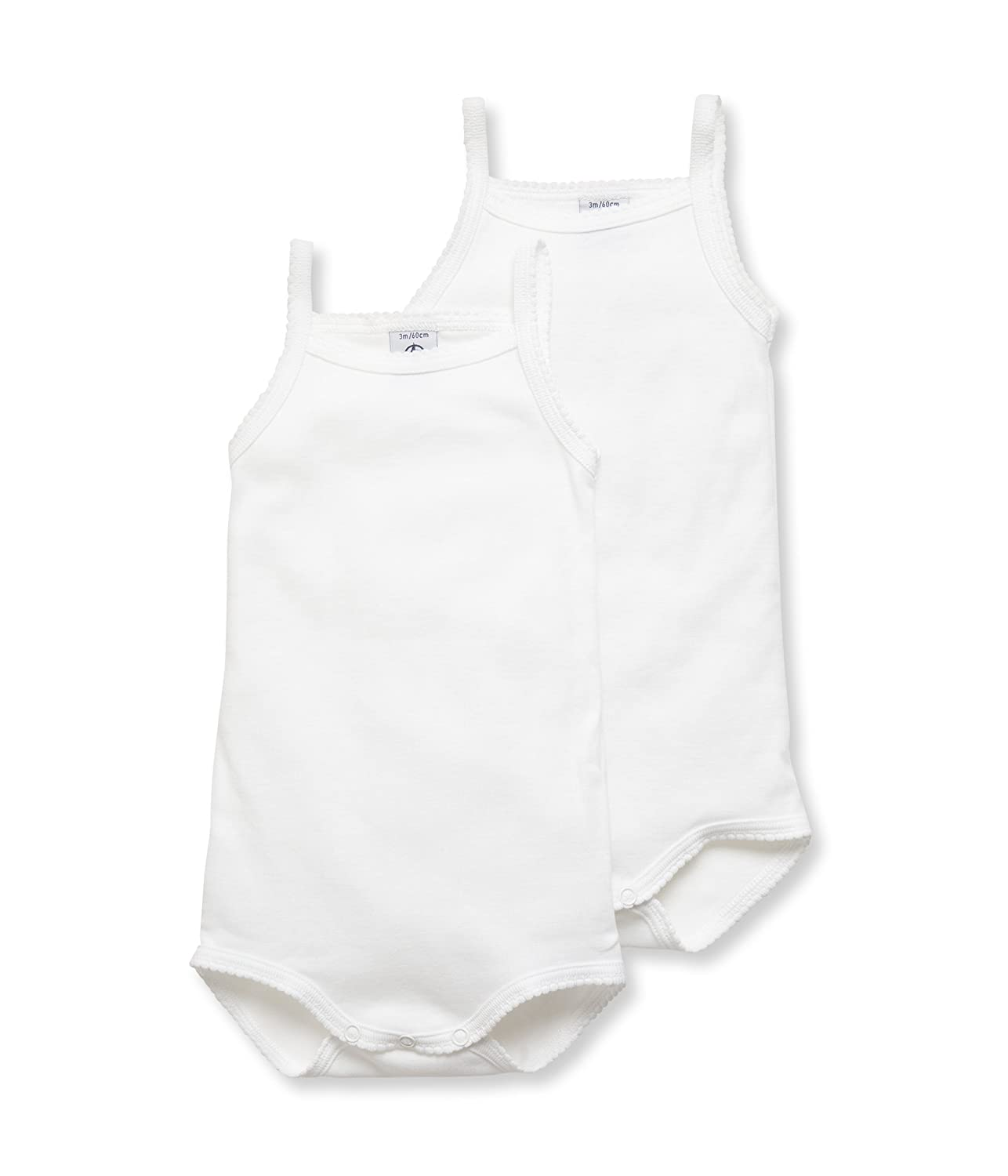 Petit Bateau Baby Girls Lot 2p Body Bret Sleeveless Bodysuit